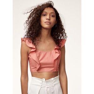 Aritzia Wilfred Sandrine Cropped Coral Blouse